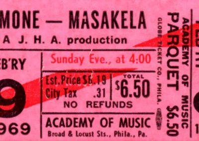 Concert Ticket. Nina Simone & Hugh Masakela