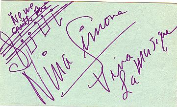 'Ne me quitte pas' musical fragment with Nina Simone autograph and salutation. 1987.