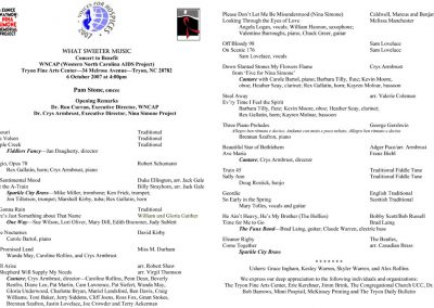 'Voices for Hospices' 2007 Concert program