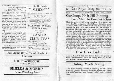 Tryon Daily Bulletin. 7 March 1929 issue back